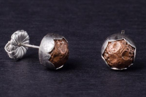 Little copper nugget silver button stud earrings