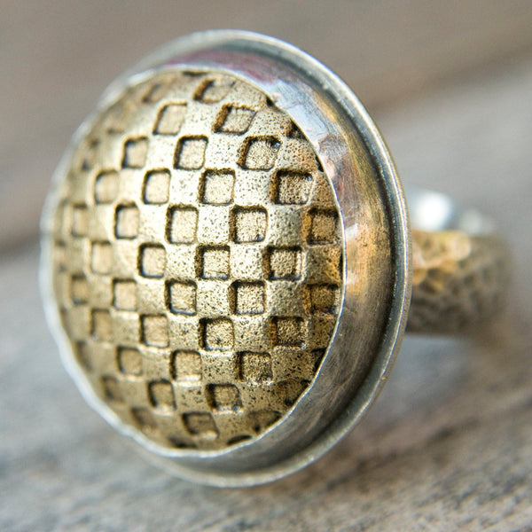 Master of checkers sterling silver button ring - Amanda K Lockrow
