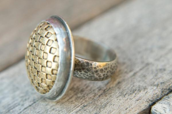 Master of checkers sterling silver button ring
