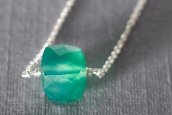 Green onyx little rock necklace- choose your stone