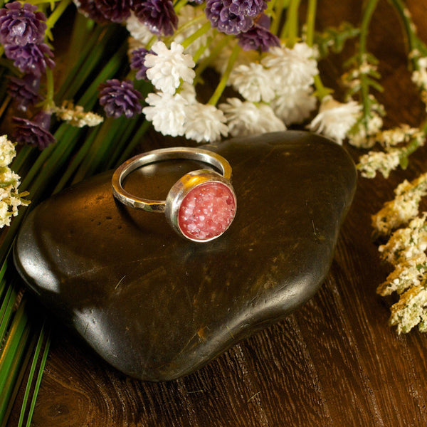 Pink tobiko silver ring-button ring made to order