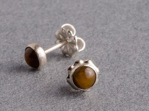 Tigerseye Silver Dot Stud Earrings