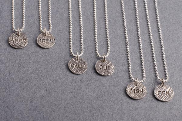 Say Something silver charm necklace-choose your word necklace Amanda K Lockrow