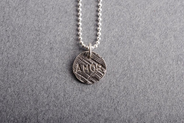 Say Something silver charm necklace-choose your word - Amanda K Lockrow