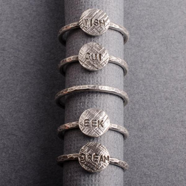 word silver stacking rings