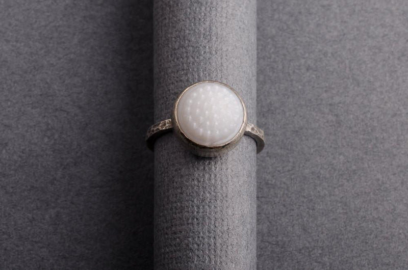 White tobiko silver ring-button ring made to order ring Amanda K Lockrow