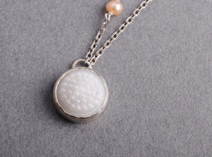 White tobiko silver button necklace- made to order