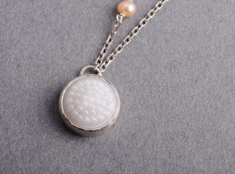 White tobiko silver button necklace- made to order - Amanda K Lockrow