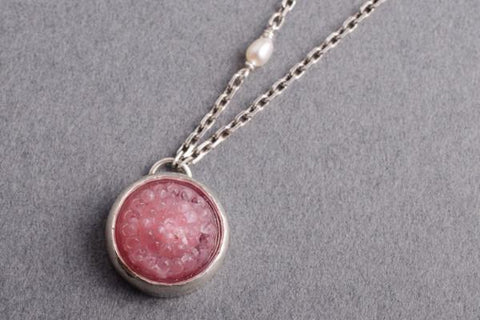 Pink tobiko silver button necklace- made to order