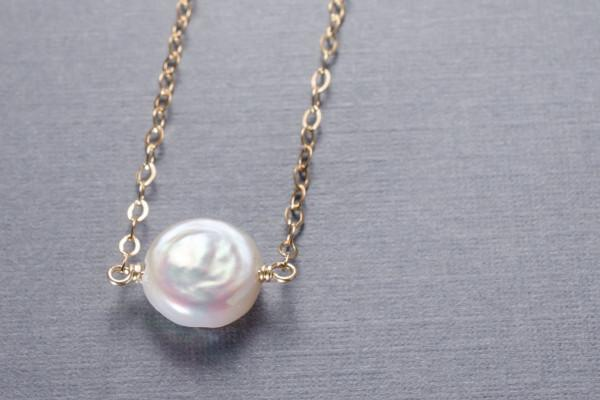Pearl little rock gold filled necklace- choose your semi precious stone