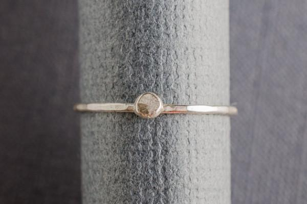 Little dot sterling silver stacker ring