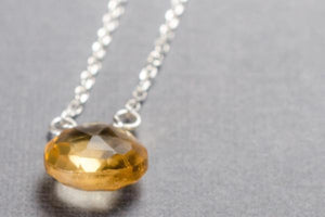 Citrine little rock sterling silver necklace - Amanda K Lockrow