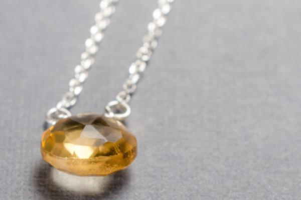 Citrine little rock sterling silver necklace