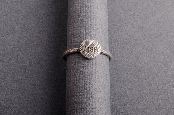 Wish sterling silver stacker word ring