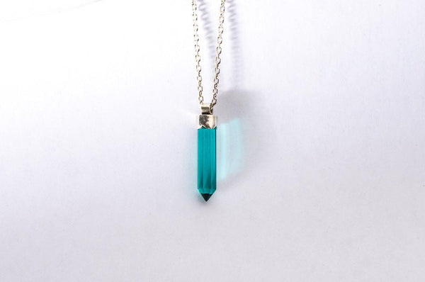 Sea green quartz crystal sterling silver necklace - Amanda K Lockrow