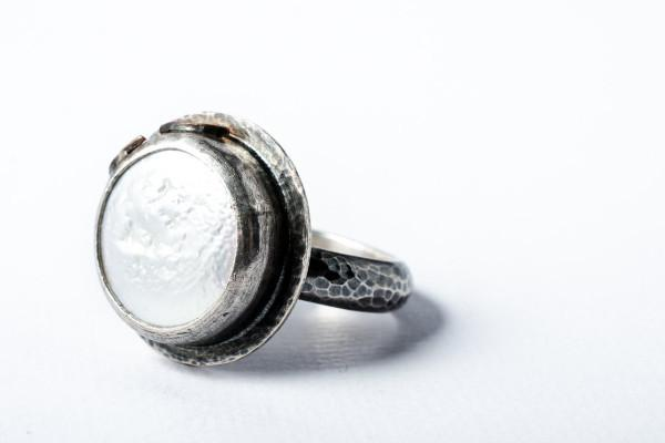 Pearl silver ring- sterling silver fallen petals