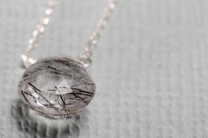 Tourmalinated quartz little rock sterling silver necklace