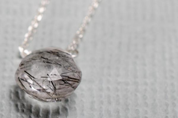 Tourmalinated quartz little rock sterling silver necklace - Amanda K Lockrow