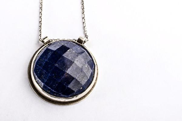 Lapis abyss statement necklace - sterling silver