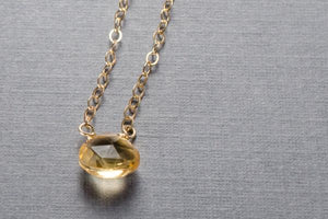 Citrine tiny stone drop gold filled necklace