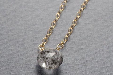 Tourmalinated quartz gold filled necklace