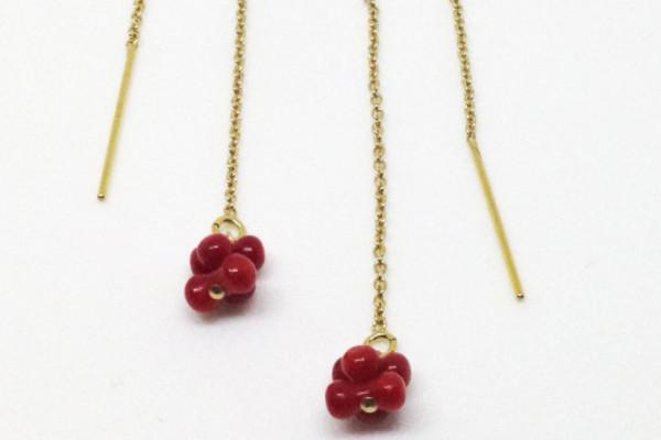 Red coral 14k gold filled threader earrings