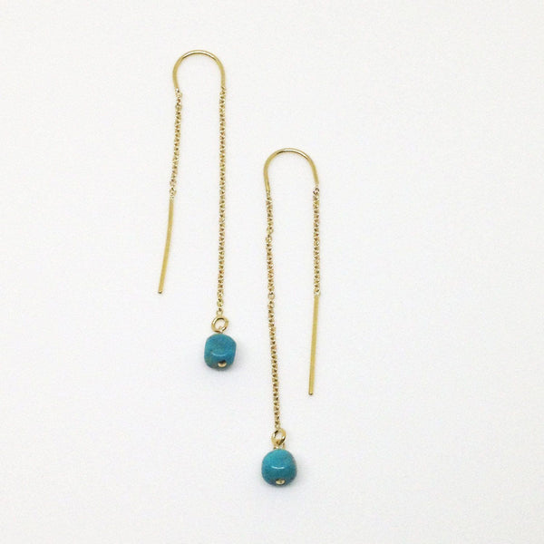 Turquoise cube 14k gold filled threader earrings