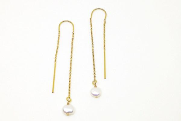 Pearl 14k gold filled threader earrings