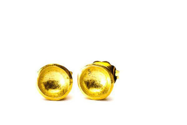 18k yellow gold vermeil darling bowl studs - Amanda K Lockrow
