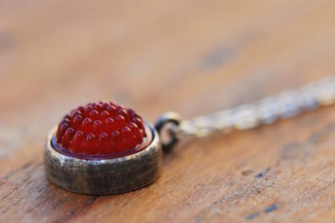 Red tobiko silver button necklace- made to order