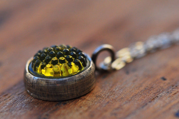 Yellow tobiko silver button necklace- made to order