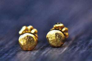 Tiny golden pebble studs- yellow gold plated sterling silver or 14k gold - Amanda K Lockrow