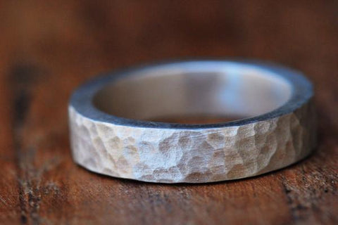 Cobblestone hammered silver band // wedding band