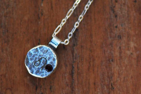 Elements leo zodiac necklace- sterling silver