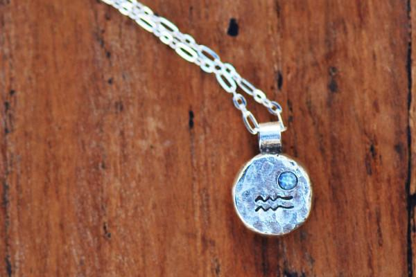 Elements aquarius zodiac necklace- sterling silver