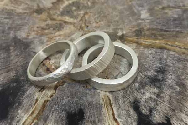 Bark hammered unisex silver band - Amanda K Lockrow