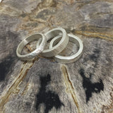 Cobblestone hammered unisex silver band
