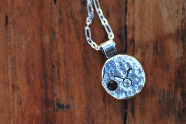 Elements taurus zodiac necklace- sterling silver