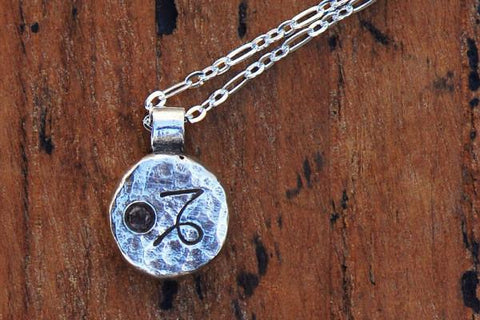 Elements capricorn zodiac necklace- sterling silver