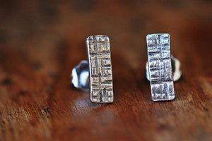 Crosshatched rectangle sterling silver stud earrings - Amanda K Lockrow