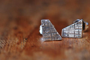 Crosshatched dainty trapezoid sterling silver stud earrings - Amanda K Lockrow