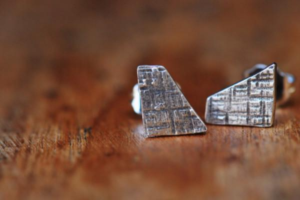 Crosshatched dainty shape sterling silver stud earrings