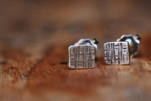 Crosshatched tiny square sterling silver stud earrings