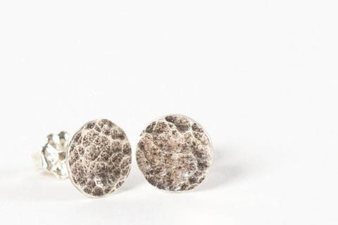 Cobblestone stud dot earrings-sterling silver