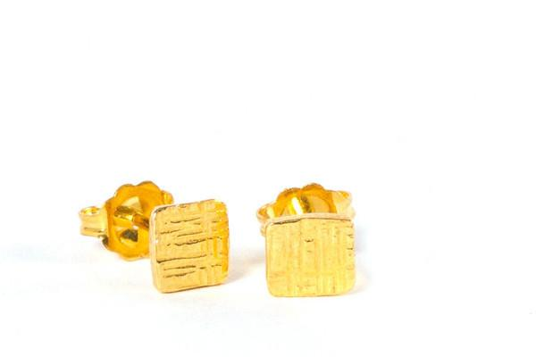 18k yellow gold vermeil tiny square silver stud earrings