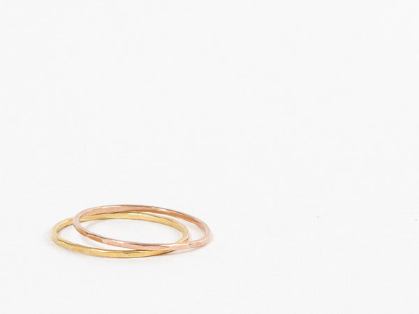 Thin hammered silver stacking ring: 1 band- choose your finish faceted texture