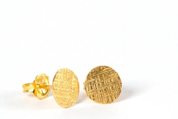 Small gold vermeil hammered circle stud earrings (ready to ship) dot crosshatched - Amanda K Lockrow