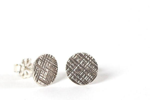 Silver hammered stud earrings (ready to ship) dot crosshatched - Amanda K Lockrow