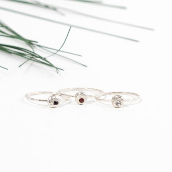 Elemental pebble sterling silver stacking ring