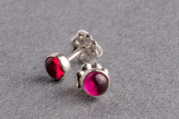 Ruby silver dot stud earrings - Amanda K Lockrow